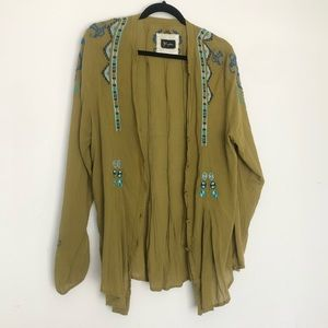 Johnny Was Biya SZ L Embroidered Top Green Linen